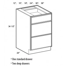 3DB12-Salem Drawer Base Cabinet - TufBuilt Ready to Assemble Kitchen Cabinet