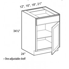 B09FH-Mission White Base Cabinet (1 Door) - TufBuilt Ready to Assemble Kitchen Cabinet