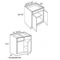B33-Mission White Base Cabinet (2 Door) - TufBuilt Ready to Assemble Kitchen Cabinet