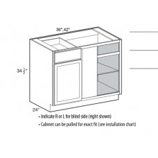 BBC3639-Mission White Blind Corner Base Cabinet - TufBuilt Ready to Assemble Kitchen Cabinet