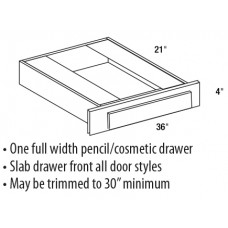 "KD36-Shaker Espresso 21"" Deep Desk Knee Drawer - TufBuilt Assembled Kitchen Cabinet Accessories"