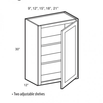 W0930 - Oxford Wall Cabinet (1 Door) - TufBuilt Ready to Assemble Kitchen Cabinet