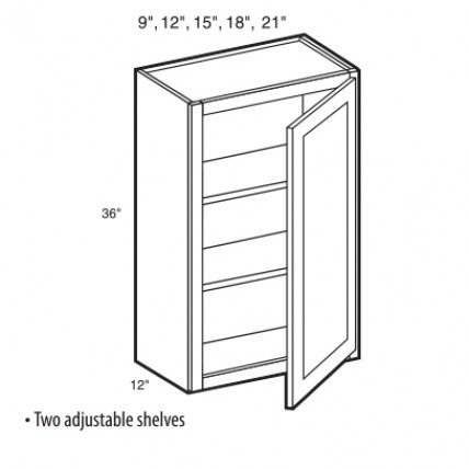 W1836-White Shaker Wall Cabinet (1 Door) - TufBuilt Ready to Assemble Kitchen Cabinet