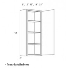 W0942-Mission White Wall Cabinet (1 Door) - TufBuilt Ready to Assemble Kitchen Cabinet