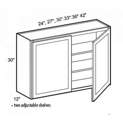 W2430 -Golden Oak Wall Cabinet (2 Door) - TufBuilt Ready to Assemble Kitchen Cabinet