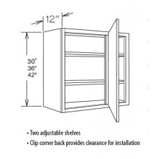 WBC3042-York Blind Corner Wall Cabinet (1 Door) - TufBuilt Ready to Assemble Kitchen Cabinet