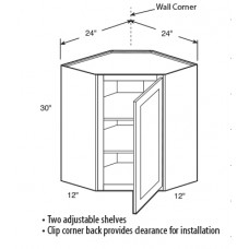 WCD2442-York High Corner Wall Cabinet (1 Door) - TufBuilt Ready to Assemble Kitchen Cabinet