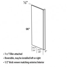 1.5REP2896-White Shaker Refrigerator End Panel with Filler - TufBuilt Assembled Kitchen Cabinet Accessories