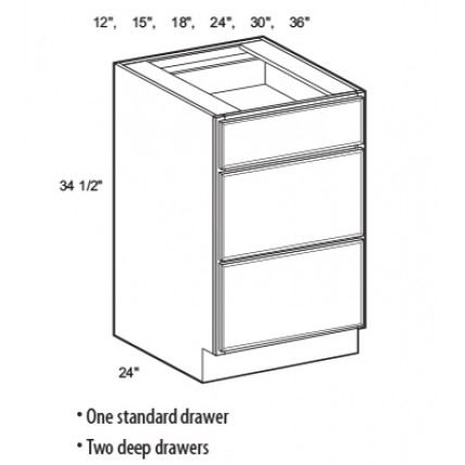 3DB15-White Shaker Drawer Base Cabinet - TufBuilt Ready to Assemble Kitchen Cabinet