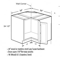 BLS36-W-Berkshire Lazy Susan Corner Base Cabinet with two Wood Lazy Susan- TufBuilt Ready to Assemble Kitchen Cabinet