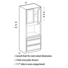 OCU3384-Salem Oven Cabinet(2 Door) - TufBuilt Ready to Assemble Kitchen Cabinet