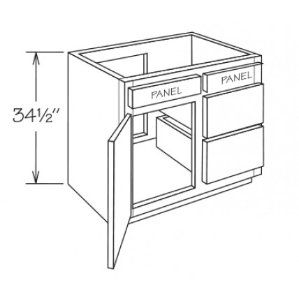 VCD36-Salem Vanity Drawer Base Cabinet - TufBuilt Ready to Assemble Kitchen Cabinet