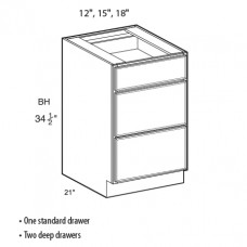 VDB12-Shaker Espresso Vanity Drawer Base Cabinet - TufBuilt Ready to Assemble Kitchen Cabinet