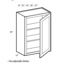 W1830 -White Shaker Wall Cabinet (1 Door) - TufBuiltReady to Assemble Kitchen Cabinet