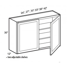 W2730-White Shaker Wall Cabinet (2 Door) - TufBuilt Ready to Assemble Kitchen Cabinet